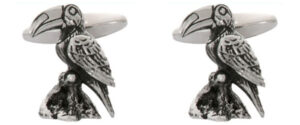 Bird 3D Rhodium plated Cufflinks